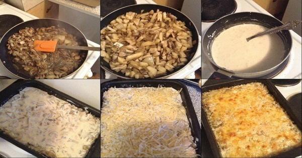 zapečené brambory s kuřecím masem a smetanou